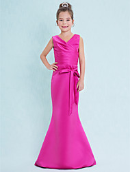 Lanting Bride Floor-length Satin Junior Bridesmaid Dress Trumpet / Mermaid V-neck with Criss Cross