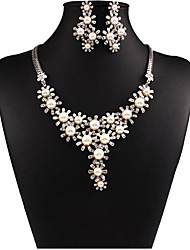 MPL Fashion luxury pearl diamond necklace earrings set