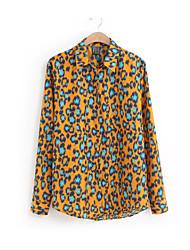 Hot Sale Fashion Women's Leopard Orange Shirt,Stand Long Sleeve