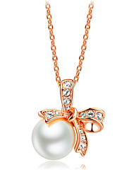 18K Rose Gold Plated Fashion Bowknot White Simulated Pearl Pendant Necklaces Wedding CZ Crystal