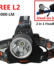 2 In 1 Headlamp/Bike Lamp CREE XM-L2 LED Headlight Ultra Bright 3 Modes Zoomable  Flashlight Torch 2 pcs 18650/Charger