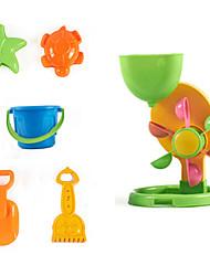 6-Stücke Strand Sandspielzeug mit Eimer, Trichter, Sandschaufel, Sandrechen und 2 Modelle eingestellt