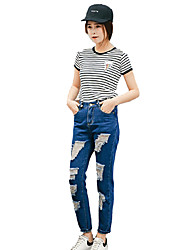 Women's Solid Blue Spandex Pant , Casual / Day