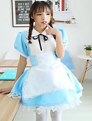 Uma-Peça/Vestidos Ternos de Empregadas Doce Marinheira Lolita Cosplay Vestidos Lolita Miscelânea Manga Curta Comprimento MédioMalha