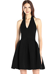 Women's Sexy Solid Skater Dress , Halter Above Knee Polyester
