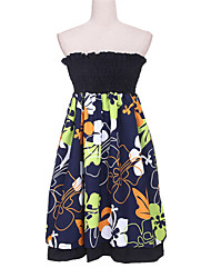 Women's Casual/Daily Sexy Swing Dress,Floral Strapless Mini Sleeveless Multi-color Cotton / Polyester Summer