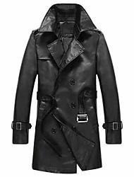 The man in the long winter coat lapel mounted male Leather Slim men leather windbreaker jacket size tide