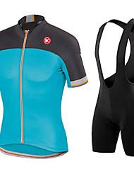 KEIYUEM Cycling Jersey with Bib Shorts Men's Unisex Short Sleeve BikeWaterproof Windproof Dust Proof Lightweight Materials 3D Pad