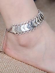 1Pcs Anklet and 1Pcs Bracelet  Vintage Style Antique Silver Anklet  Coin beach weddings Beach Ankle Chain Bracelet