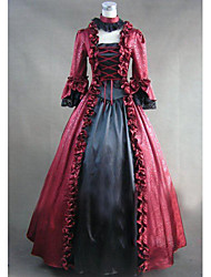 One-Piece/Dress Gothic Lolita Victorian Cosplay Lolita Dress Red Patchwork Long Sleeve Long Length Leotard For Women Cotton