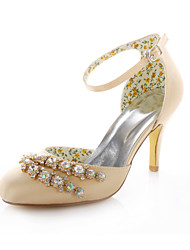 Women's Summer Heels / Peep Toe Stretch Satin Wedding / Dress / Party & Evening Stiletto Heel Crystal Champagne