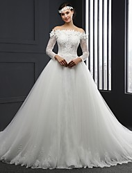 Ball Gown Wedding Dress Chapel Train Strapless Tulle with Appliques