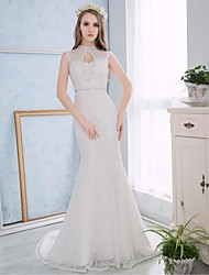 Trumpet / Mermaid Wedding Dress Court Train High Neck Lace / Satin with Appliques / Embroidered / Lace