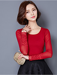 Women's Solid Red / Black Blouse , Round Neck Long Sleeve