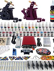 solong Tätowierung komplette Tattoo-Set 2 pro Maschinen 40 Farben Stromversorgung Fußpedals Adeln Griffe Spitzen tk257