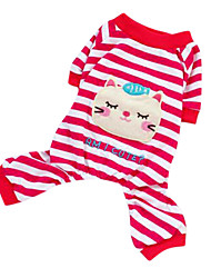 Dog Pajamas / Clothes/Jumpsuit Red / Yellow Spring/Fall Stripe Fashion