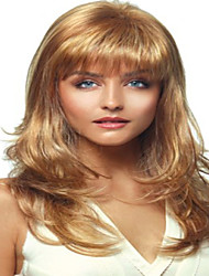 Hot European Lady Blonde Long Curly Straight Synthetic Hair