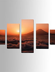 U2art®Landscape Canvas Print Five Panels Ready to Hang , Vertical For Living Room(No Frame)