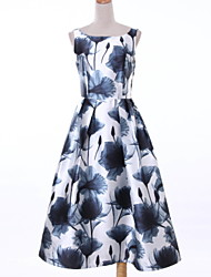 Women's Casual / Day Print Sheath Dress , Round Neck Knee-length Polyester