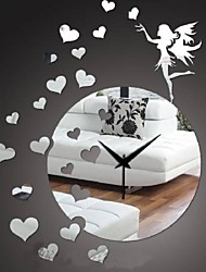 Modern 3D DIY Frameless Fairy Love Sticker Wall Clock Watch Home Room Decor