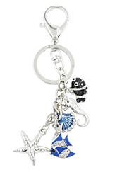 Fashion Cute Rhinestone Set Enamel Sea World Charm Key Ring/Handbag Accessory