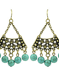 Antique Style Turquoise Big Chandelier Earrings