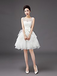 Knee-length Organza Bridesmaid Dress-Ruby / Ivory / Silver A-line Scoop