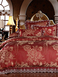 Floral Duvet Cover Sets 4 Piece Modal Luxury Reactive Print Modal Queen King 4pcs (1 Duvet Cover, 1 Flat Sheet, 2 Shams)