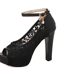Chaussures Femme - Mariage / Habillé / Soirée & Evénement - Noir / Blanc / Beige - Gros Talon - Bout Ouvert - Sandales - Dentelle