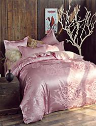 Floral Faux Silk 4 Piece Duvet Cover Sets