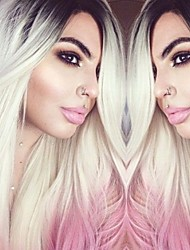 Fashion Synthetic Wigs Lace Front Wigs With Lang Straight Black And Pink And Grey Heat Resistant Hair Wigs Women