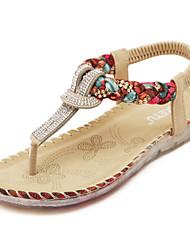 Women's  Flat Heel Slingback / Open Toe Sandals  Black / Almond