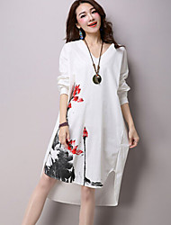 Women's Casual/Daily Boho Loose Dress,Floral V Neck Asymmetrical Long Sleeve Blue / White Cotton Summer
