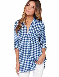 Women's Plaid Blue Vest,Shirt Collar Long Sleeve