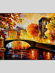 Modern Landscape Street Canvas Material Oil Paintings With Wooden Stretcher Ready To Hang  Size 60*90CM