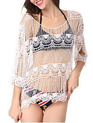 Women's Halter One-pieces , Mesh One-Pieces Polyester White