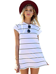 Women's Cute Striped A Line Dress,Round Neck Mini Cotton / Polyester
