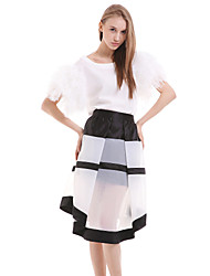 Women's Striped White Skirts , Casual / Day Knee-length