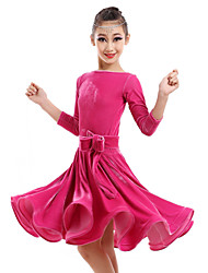 Latin Dance Dresses Children's Performance Velvet Flower(s) 1 Piece DressDress length S(110):74cm / M(120):78cm / L(130):82cm /