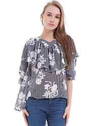 Women's Casual/Daily Simple Blouse,Floral V Neck Long Sleeve Black Silk Opaque