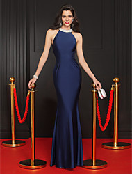 TS Couture Formal Evening Dress - Dark Navy Trumpet/Mermaid Jewel Floor-length Jersey