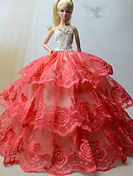 Festa/Noite Vestidos Para Barbie Doll Vermelho Vestidos Para Menina de boneca Toy