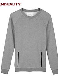 Trenduality® Hombre Escote Redondo Manga Larga Camiseta Negro / Gris - 57025