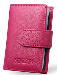 Women Cowhide Bi-fold Card & ID Holder / Business Card Holder