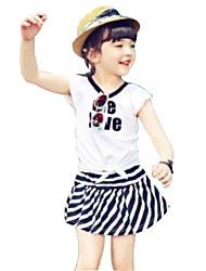 Girl's Orange / White Clothing Set,Stripes Cotton Summer