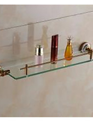 Vintage Glass and porcelain Bathroom Shelf , Neoclassical Antique Bronze Wall Mounted
