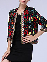Women's Floral Black Jackets , Casual / Day Round Neck ¾ Sleeve