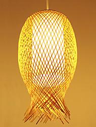 20*40CM Modern Teahouse Bamboo Weaving Bamboo Decoration Droplight Lamp LED