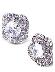 Cute / Elegant / Work / Casual Platinum Plated / Cubic Zirconia Stud Earrings