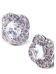Stud Earrings Handmade Luxury Zircon Cubic Zirconia Platinum Plated White Jewelry For 2pcs